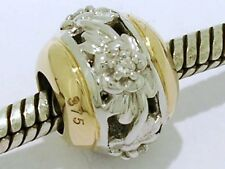 Genuine 9K White & Yellow Two-Tone Gold Filigree Natural DIAMOND Blossom Bead