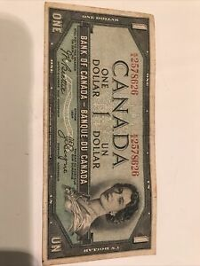1954 Candian 1 dollar Devil's Face note.