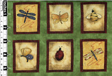 Quilting Fabric Panel 6 Squares Bee Dragonfly Butterfly Panel Size 15cm x 112cm