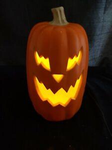 "Halloween Light Up Pumpkin Jack O Lantern Plastic Blow Mold 16"""