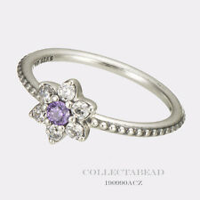 Authentic Pandora Silver Forget Me Not Purple CZ Ring Size (4) 48 190990ACZ