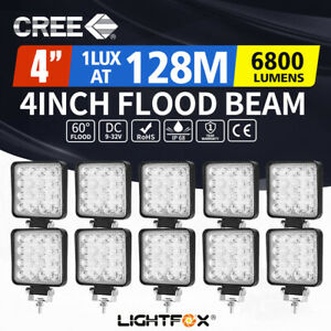 10x 4inch CREE LED Light Bar Flood Driving Work Lamp Offroad 4WD Reverse
