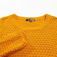 Mak Womens Chunky Knit Sweater Size L Cotton Yellow