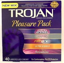 1 BOX Brand New Trojan Premium Condoms Pleasure Pack 40 Count Free Shipping
