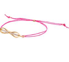 TED BAKER SLEEK GOLD BOW PINK CORD BRACELET SWAROVSKI CRYSTAL RRP £21.99