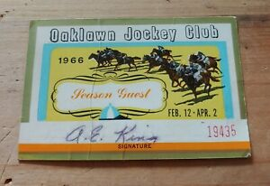 Oaklawn Park Jockey Club Season Guest Card Ticket Hot Springs Horse Racing 1966
