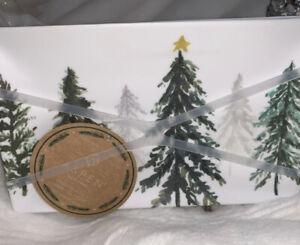 "4PC  TREE Winter Forest MELAMINE  Plates 8""  Wide Aspen NEW"