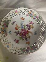 "Schumann Bavaria Dresden Pierced Porcelain Bowl 9"" Floral Gilded Scalloped 4"