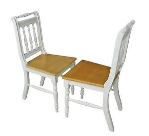 2x Stuhl Holzstuhl Küchenstuhl OTTO massiv weiß braun Holz Landhaus Cottage SET