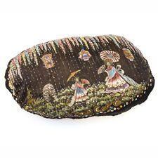Peinture sur coussin ovale en tissu noir ancien vintage signé ANAMÊCHE