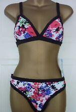 Marks & Spencer Floral Black Bikini Brief 14 Plunge Bra 12 36 Removable Padding