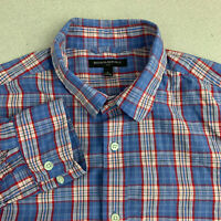 Banana Republic Button Up Shirt Mens Large Blue Red Plaid Long Sleeve Casual