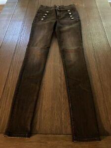 Express Super High Rise Denim Legging Button Fly Stretch Size 2L Black