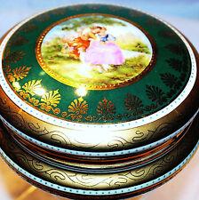 ANTG LRG ROYAL VIENNA KALSBAD J.K.W. LOVERS TRINKET BOX  EMERALD GOLD AUSTRIA