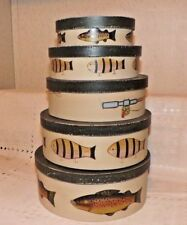 """SET OF 5 NESTING BOXES~RAINBOW TROUT FISH~FISHING POLE & REEL~9-1/4"""" TO 5-3/4"""""""