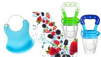 2 Pack Baby fruit feeder Pacifier w/Silicone Bib Nipple Teething Toy Fresh Food