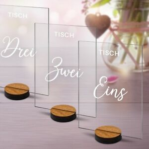 Hochzeit Tischnummern Acrylglas UV-Druck 1-10 Set Dekoration Schwungvoll Elegant