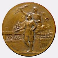 Art Nouveau France athlete holding laurel wreath bronze medal by F. Rasumny N130