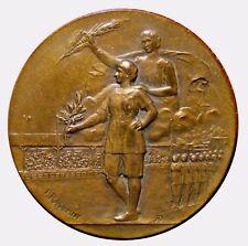 Art Nouveau France athlete holding laurel wreath bronze medal by F. Rasumny N130