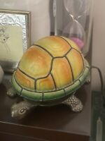 Vintage Turtle Tiffany Style Stained Glass & Metal Base Table Lamp
