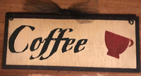 coffee cup country primitive farmhouse kitchen cafe theme wall decor wood sign