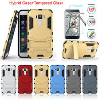 Hybrid Armor Stand Case Cover + Tempered Glass Protector For Asus Zenfone Phones