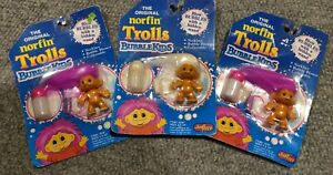 Vintage 1992 Norfin Trolls Bubbles Kids Just Toys NIB Lot of 3 Damaged Packaging
