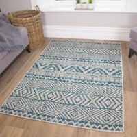 Tribal Tuscan Vintage Moroccan Blue Turquoise Flatweave Indoor Outdoor Large Rug