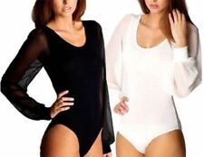 WOMENS LONG SLEEVE LEOTARD SCOOP NECK CHIFFON SLEEVE LADIES BODYSUIT SIZE 8-12