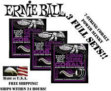 ** 3-PACK ERNIE BALL COBALT 7 STRING POWER SLINKY  GUITAR STRINGS 11-48 **
