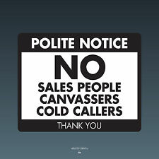 SKU069 Stop Cold Calling Door Sticker No Canvassers Callers Sign - 150mm x 120mm