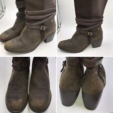 🌈Hush Puppies Size 9 43 Brown Suede & Leather Long Riding Buckle Boots Womens