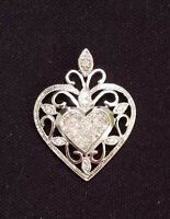 Stunning Art Deco 14K White Gold 1.00CTW Diamond Filigree Heart Pendant