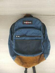 Vintage Eastpak Backpack Navy Blue Suede Made in USA Adjustable