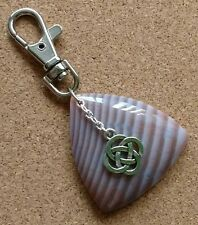 Unique Semi Precious Stripe Agate &Tibetan Silver Celtic Bag Charm/Key Ring Gift