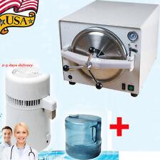 900W Dental Medical Autoclave Steam Sterilizer Sterilization+4L Water Distiller