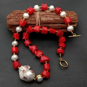 """Red Coral White Pearl Necklace White Keshi Pearl Cz pave Pendant 21"""""""