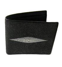 Classic Genuine Stingray Leather Bi-Fold Wallet w/ Left Flap Black