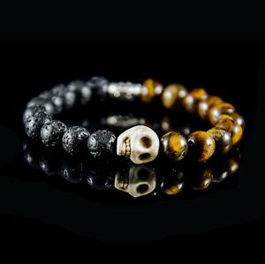 Totenkopf Biker  Herren Lava  Skull Armband Men Bracelet Perlen Surferarmband