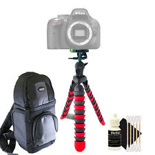 Flexible Tripod + DSLR Backpack + Cleaning Kit for Nikon D5600 and D5500