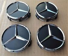 4x Mercedes Benz Alloy Wheel Centre Caps 75mm Badges BLACK Hub Emblem - Fits All