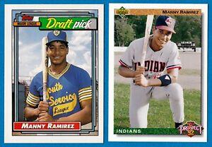 MANNY RAMIREZ 1992 ROOKIE CARD LOT OF 2 UPPER DECK #63 TOPPS #156 PRISTINE CARDS