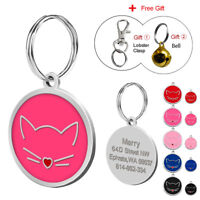 Cute Face Personalized Cat ID Tags Engraved Disc Pet Dog Name Collar Tag Small