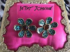 Betsey Johnson Vintage Jungle Fever Blue Leopard HUGE Flower Daisy Stud Earrings