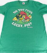 Vintage Angry Birds T-Shirt Unisex Mens Size S Womens Medium Green Lucky Pig