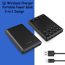 Portable Mini Power Bank Qi Wireless Charging Battery Phone Charger Type C 2 Usb