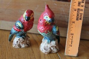 Japan Salt & Pepper Shakers Parrots Macaw Red Porcelain Vintage Hand painted