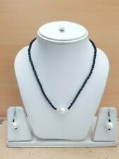 87.00Cts. Faceted Quartz Beads & Peral Gemstone Handmade Necklace Set For Women