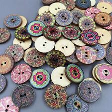 Natural Wood Buttons Colorful Pattern 2 Holes Sewing DIY Kits Random Mixed 50PCs