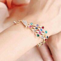 Colorful Hot Rhinestone Crystal Peacock Bracelet Women Bangle Jewelry Gift W